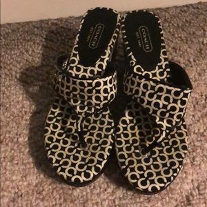 Coach Shoes - Coach Wedge Sandals Black And White